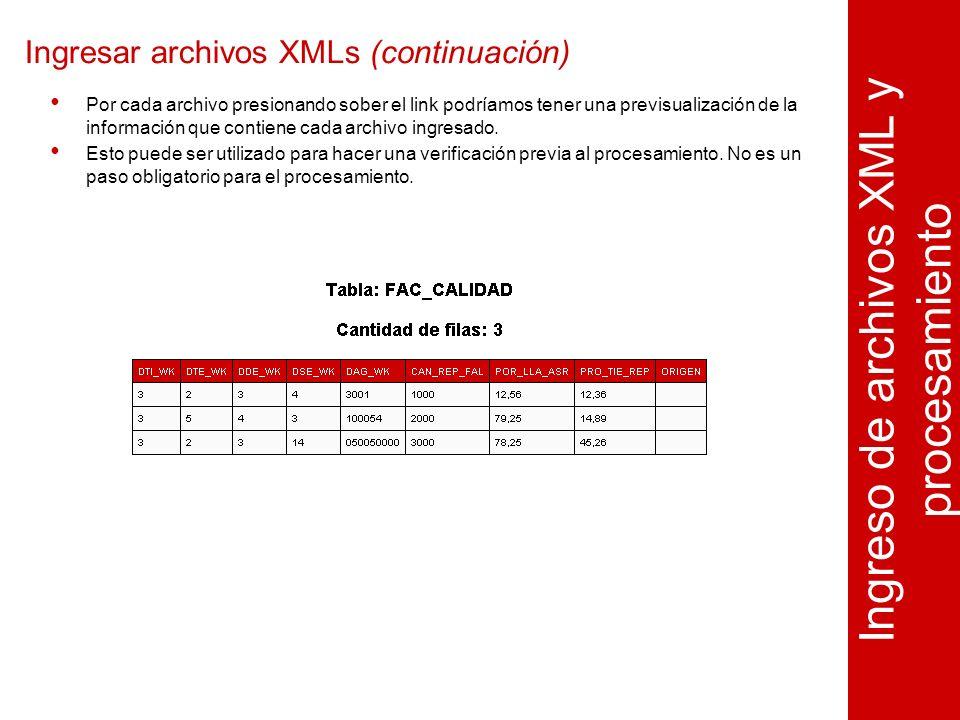 Ingresar archivos XMLs (continuación) Ingreso de archivos XML y procesamiento Por cada archivo presionando sober el link podríamos tener una previsualización de la información que contiene cada archivo ingresado.