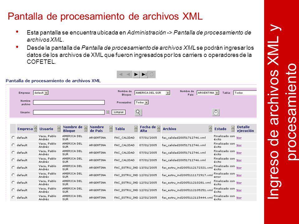 Pantalla de procesamiento de archivos XML Ingreso de archivos XML y procesamiento Esta pantalla se encuentra ubicada en Administración -> Pantalla de procesamiento de archivos XML.