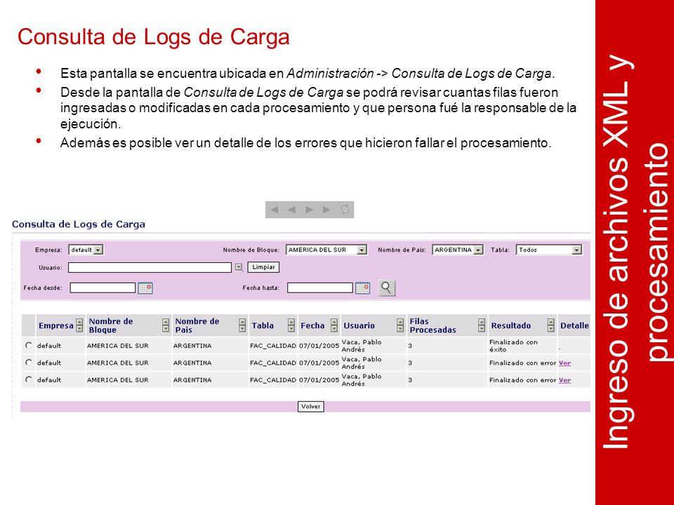 Consulta de Logs de Carga Ingreso de archivos XML y procesamiento Esta pantalla se encuentra ubicada en Administración -> Consulta de Logs de Carga.