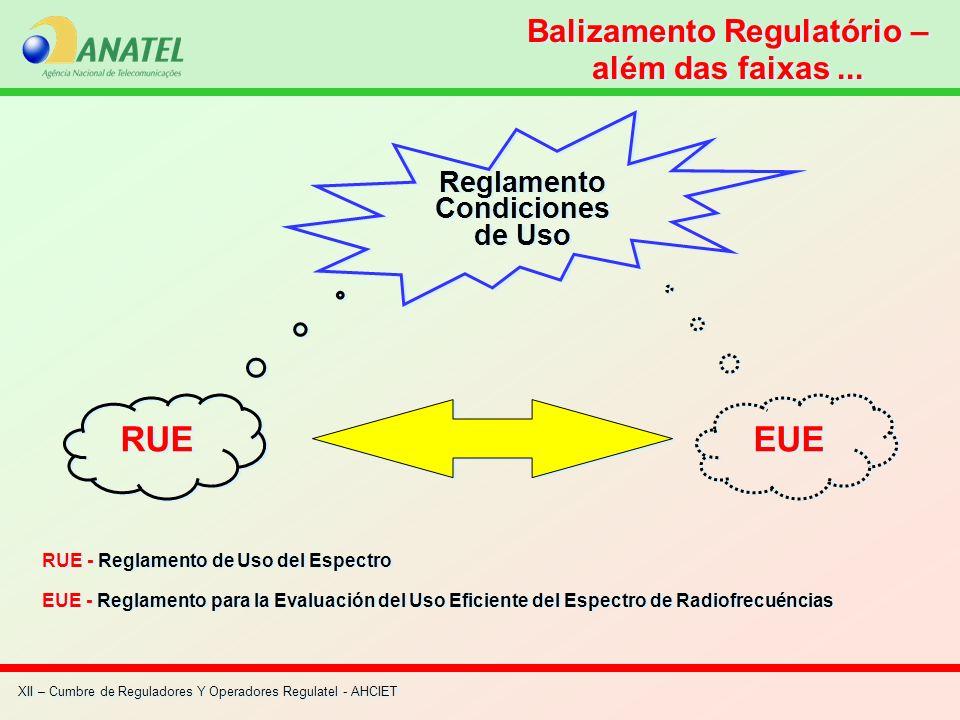 Balizamento Regulatório – além das faixas... RUE - Reglamento de Uso del Espectro EUE - Reglamento para la Evaluación del Uso Eficiente del Espectro d