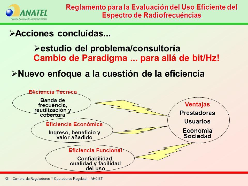 XII – Cumbre de Reguladores Y Operadores Regulatel - AHCIET Acciones concluídas... estudio del problema/consultoría Cambio de Paradigma... para allá d