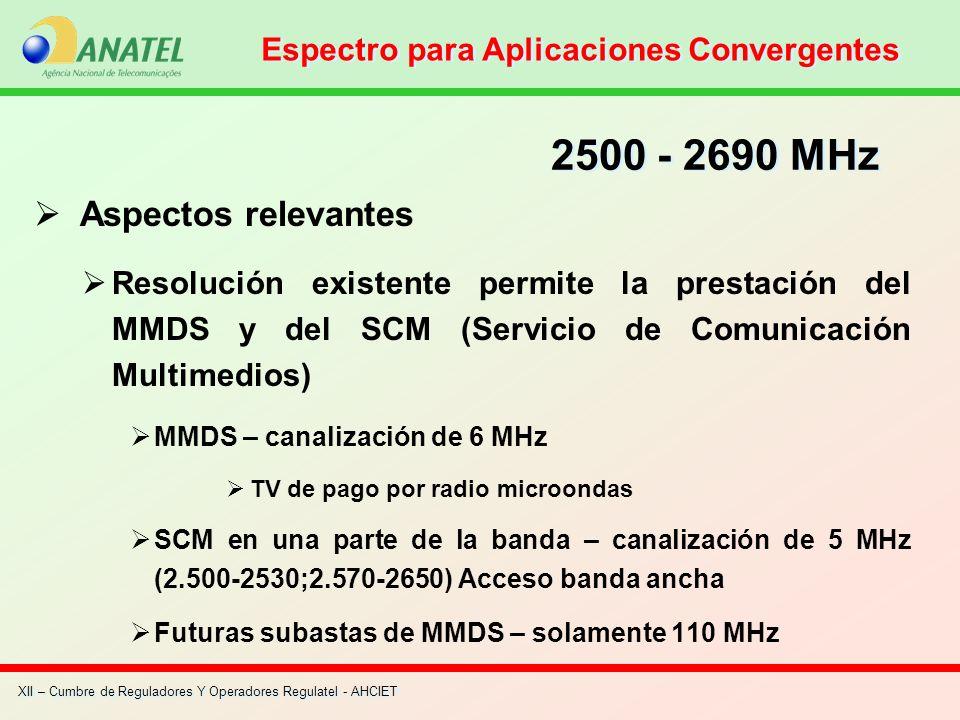 XII – Cumbre de Reguladores Y Operadores Regulatel - AHCIET Aspectos relevantes Resolución existente permite la prestación del MMDS y del SCM (Servici