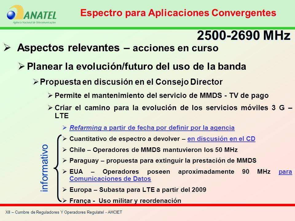 XII – Cumbre de Reguladores Y Operadores Regulatel - AHCIET Aspectos relevantes – acciones en curso Planear la evolución/futuro del uso de la banda Pr