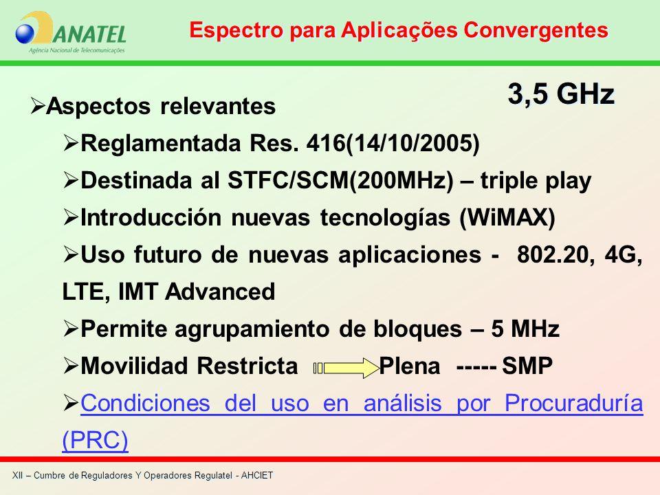 XII – Cumbre de Reguladores Y Operadores Regulatel - AHCIET Aspectos relevantes Reglamentada Res. 416(14/10/2005) Destinada al STFC/SCM(200MHz) – trip