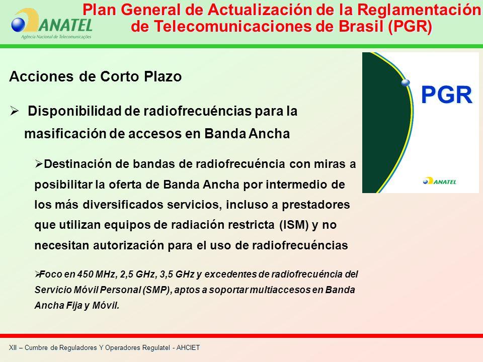 Plan General de Actualización de la Reglamentación de Telecomunicaciones de Brasil (PGR) Acciones de Corto Plazo Disponibilidad de radiofrecuéncias pa