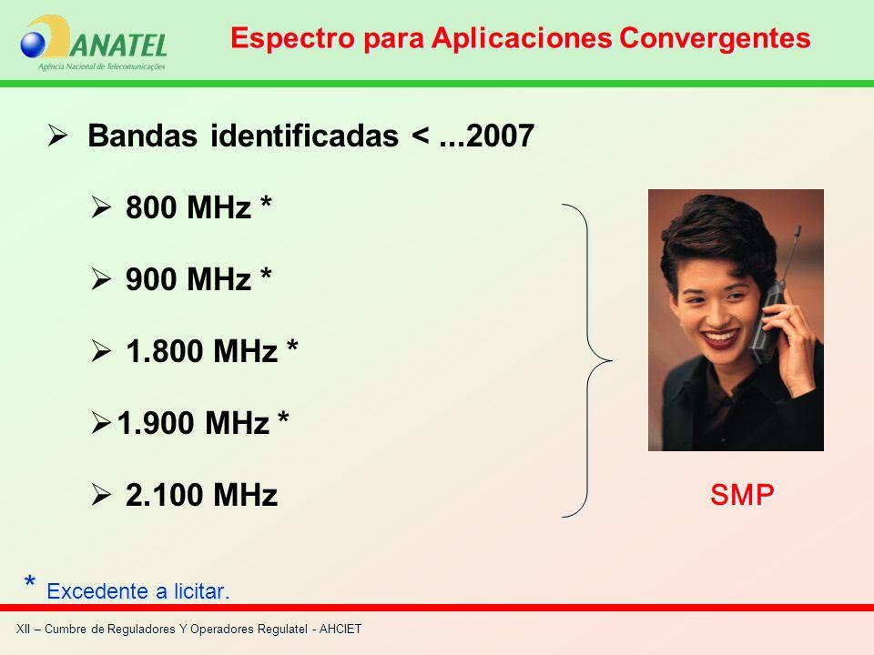 XII – Cumbre de Reguladores Y Operadores Regulatel - AHCIET Bandas identificadas <...2007 800 MHz * 900 MHz * 1.800 MHz * 1.900 MHz * 2.100 MHz SMP Es