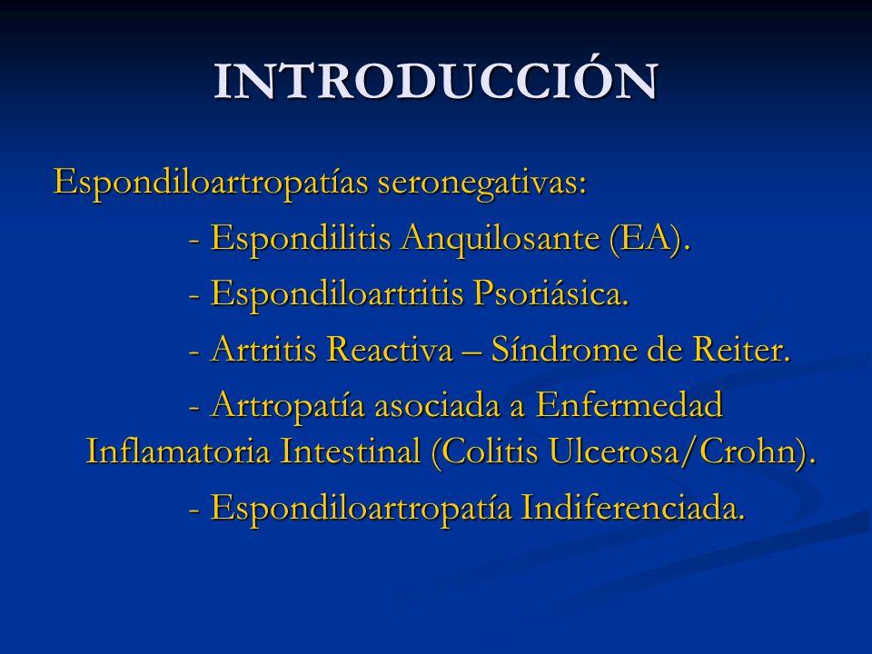 INTRODUCCIÓN Características más o menos comunes: - Sacroilitis en radiografías.