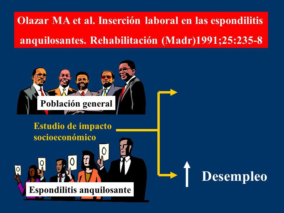 Olazar MA et al. Inserción laboral en las espondilitis anquilosantes. Rehabilitación (Madr)1991;25:235-8 Estudio de impacto socioeconómico Población g