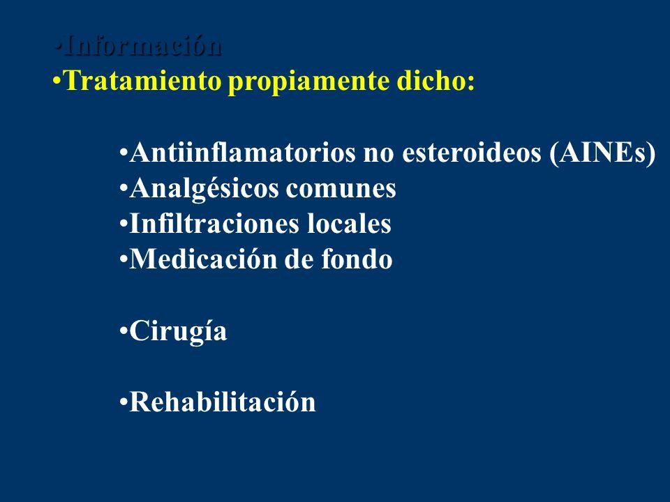 InformaciónInformación Tratamiento propiamente dicho: Antiinflamatorios no esteroideos (AINEs) Analgésicos comunes Infiltraciones locales Medicación d