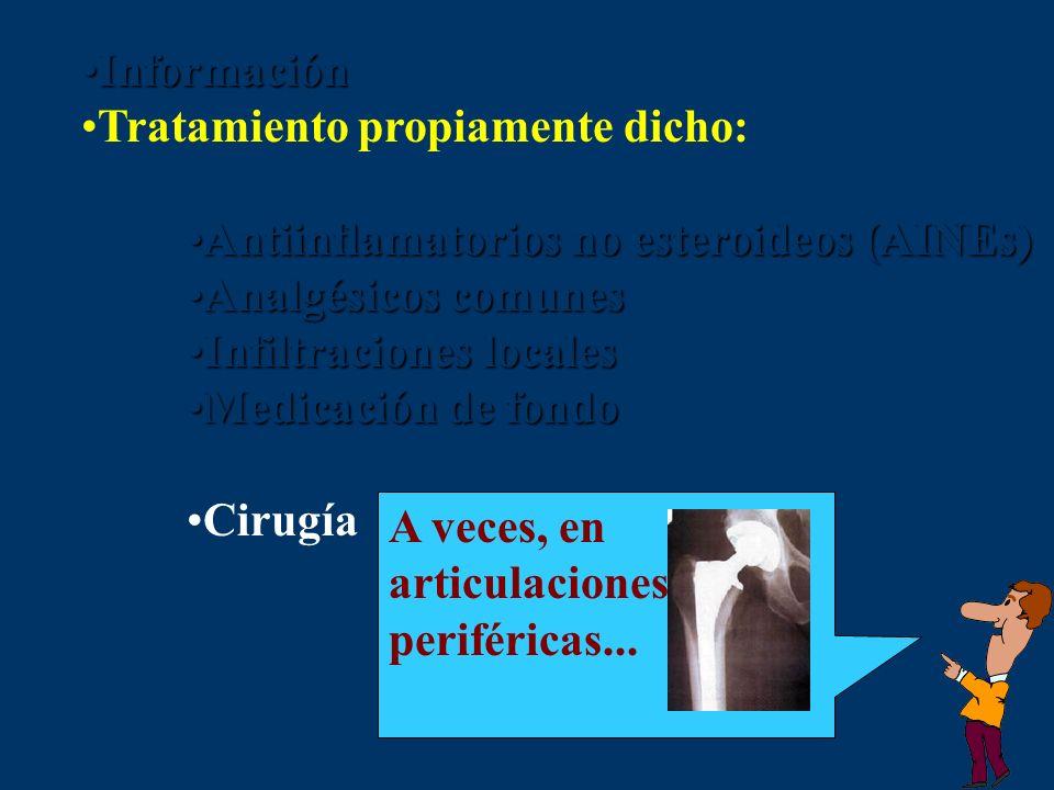 InformaciónInformación Tratamiento propiamente dicho: Antiinflamatorios no esteroideos (AINEs)Antiinflamatorios no esteroideos (AINEs) Analgésicos com