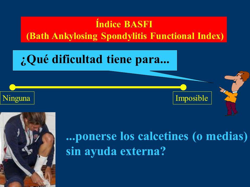 Índice BASFI (Bath Ankylosing Spondylitis Functional Index) ¿Qué dificultad tiene para... NingunaImposible...ponerse los calcetines (o medias) sin ayu
