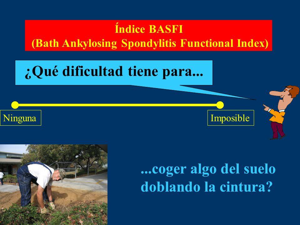 Índice BASFI (Bath Ankylosing Spondylitis Functional Index) ¿Qué dificultad tiene para... NingunaImposible...coger algo del suelo doblando la cintura?