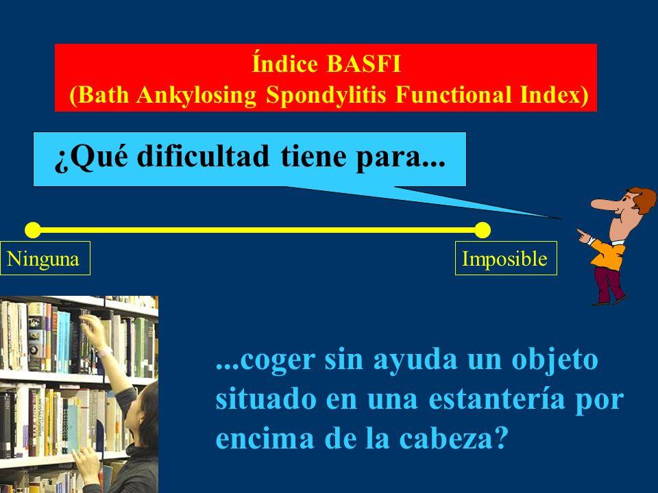 Índice BASFI (Bath Ankylosing Spondylitis Functional Index) ¿Qué dificultad tiene para... NingunaImposible...coger sin ayuda un objeto situado en una