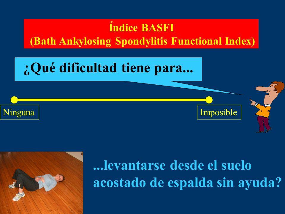Índice BASFI (Bath Ankylosing Spondylitis Functional Index) ¿Qué dificultad tiene para... NingunaImposible...levantarse desde el suelo acostado de esp