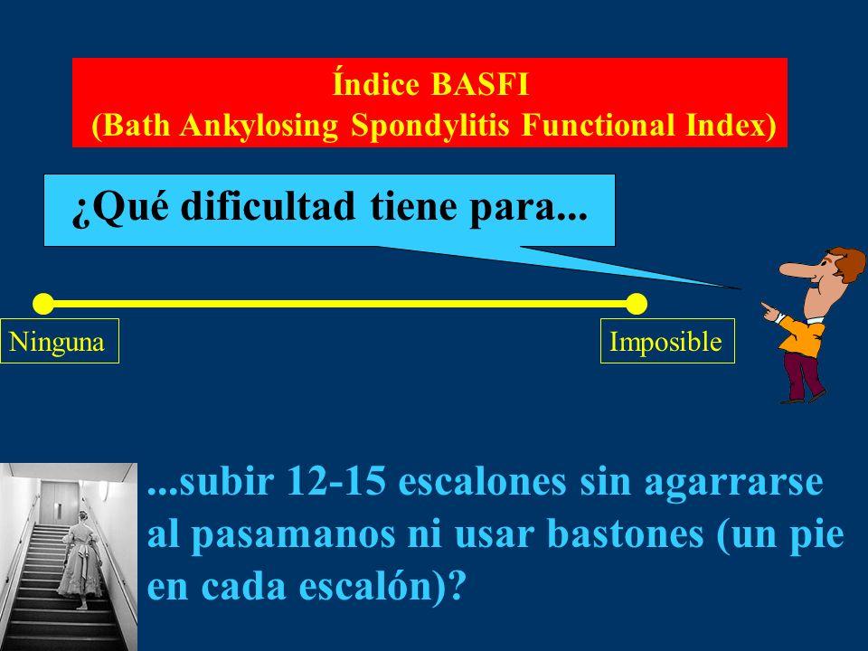 Índice BASFI (Bath Ankylosing Spondylitis Functional Index) ¿Qué dificultad tiene para... NingunaImposible...subir 12-15 escalones sin agarrarse al pa