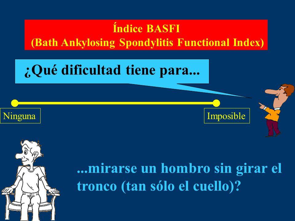 Índice BASFI (Bath Ankylosing Spondylitis Functional Index) ¿Qué dificultad tiene para... NingunaImposible...mirarse un hombro sin girar el tronco (ta