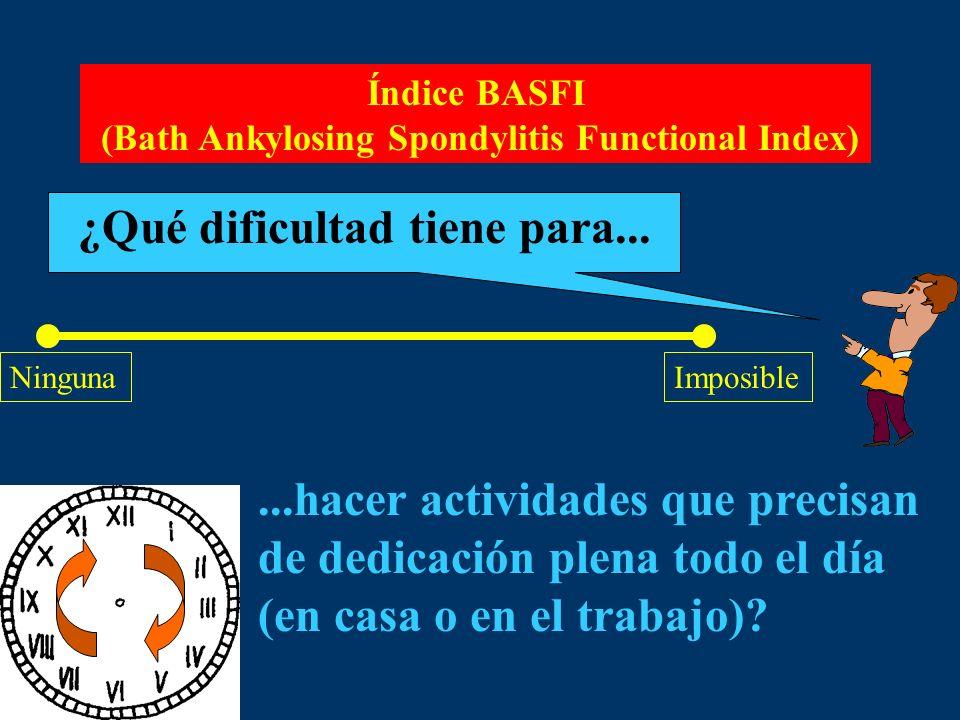 Índice BASFI (Bath Ankylosing Spondylitis Functional Index) ¿Qué dificultad tiene para... NingunaImposible...hacer actividades que precisan de dedicac