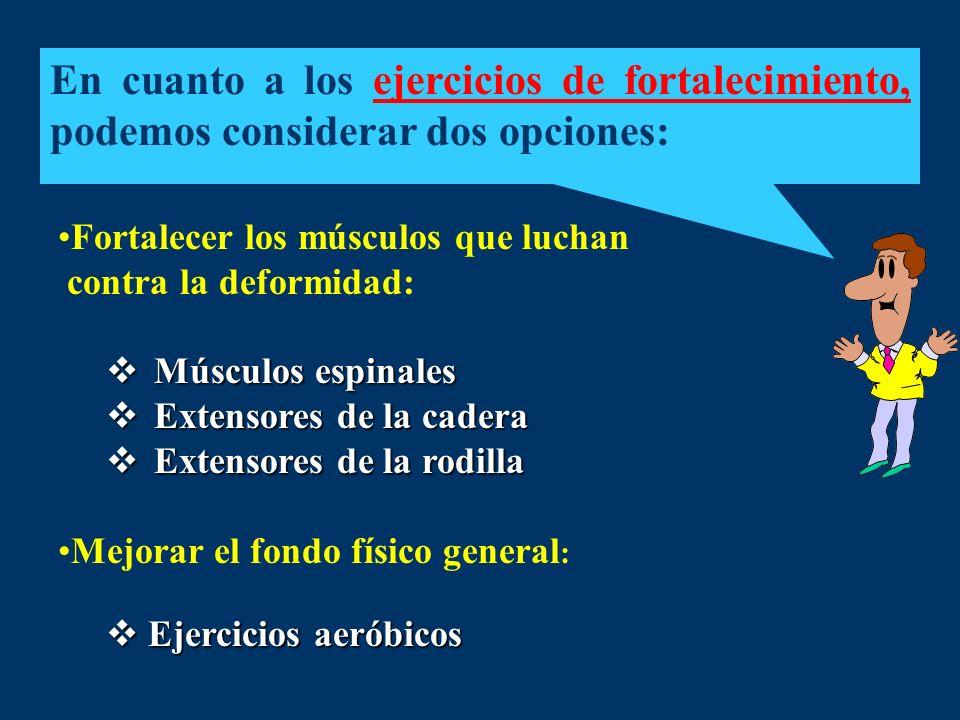 En cuanto a los ejercicios de fortalecimiento, podemos considerar dos opciones: Fortalecer los músculos que luchan contra la deformidad: Músculos espi
