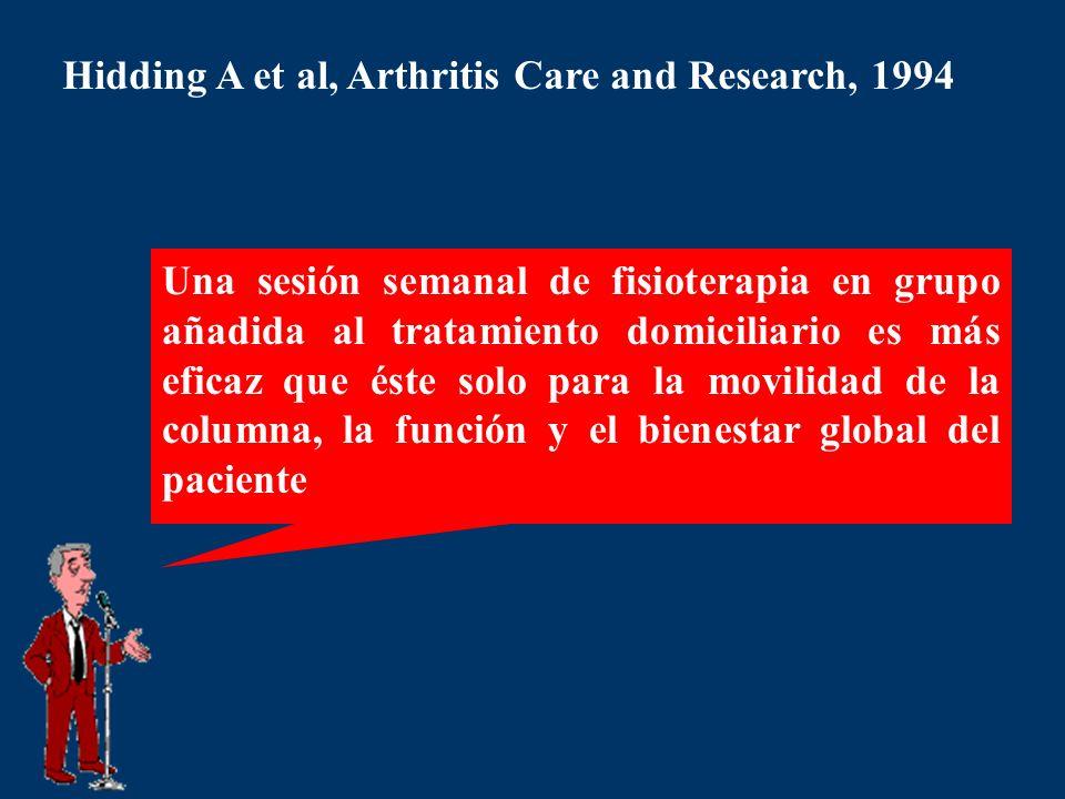 Hidding A et al, Arthritis Care and Research, 1994 Una sesión semanal de fisioterapia en grupo añadida al tratamiento domiciliario es más eficaz que é