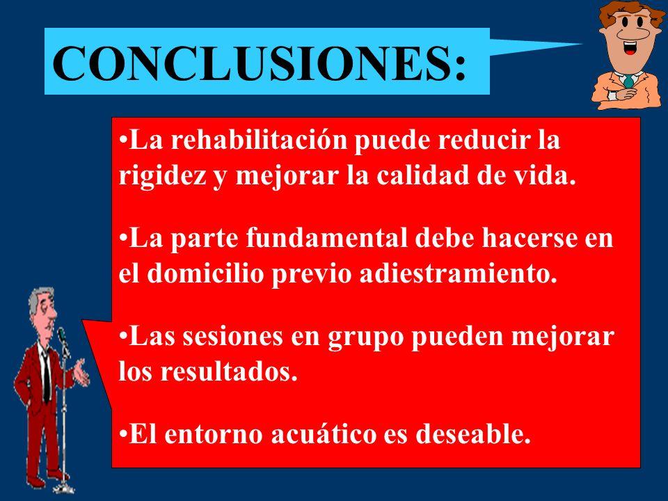 CONCLUSIONES: La rehabilitación puede reducir la rigidez y mejorar la calidad de vida. La parte fundamental debe hacerse en el domicilio previo adiest