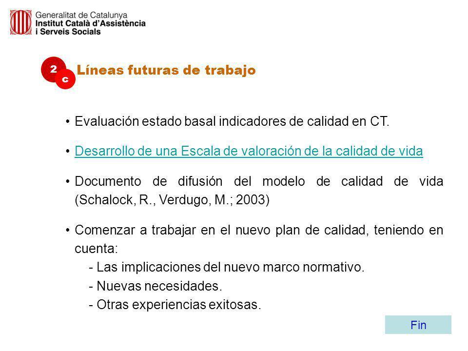 Líneas futuras de trabajo 2 c Evaluación estado basal indicadores de calidad en CT. Desarrollo de una Escala de valoración de la calidad de vidaDesarr