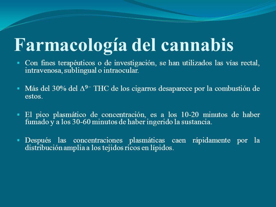 Farmacología del cannabis Con fines terapéuticos o de investigación, se han utilizados las vías rectal, intravenosa, sublingual o intraocular. Más del