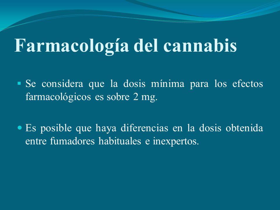 Farmacología del cannabis Se considera que la dosis mínima para los efectos farmacológicos es sobre 2 mg. Es posible que haya diferencias en la dosis