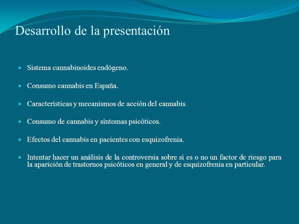 Desarrollo de la presentación Sistema cannabinoides endógeno. Consumo cannabis en España. Características y mecanismos de acción del cannabis. Consumo