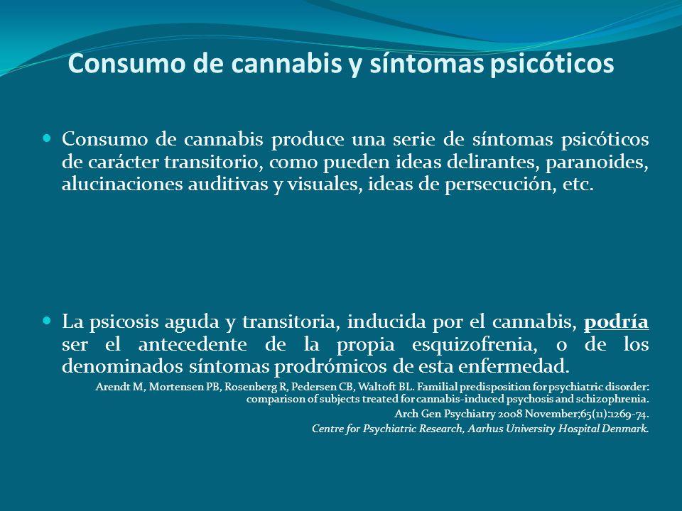 Consumo de cannabis y síntomas psicóticos Consumo de cannabis produce una serie de síntomas psicóticos de carácter transitorio, como pueden ideas deli