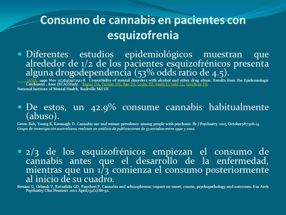 Consumo de cannabis en pacientes con esquizofrenia Diferentes estudios epidemiológicos muestran que alrededor de 1/2 de los pacientes esquizofrénicos