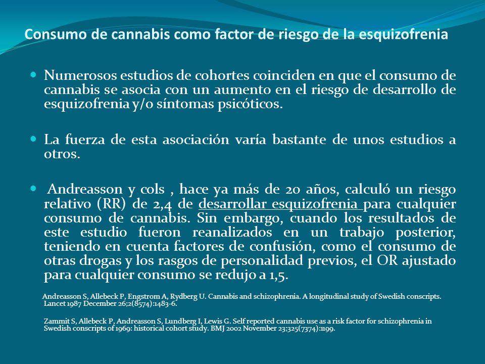 Consumo de cannabis como factor de riesgo de la esquizofrenia Numerosos estudios de cohortes coinciden en que el consumo de cannabis se asocia con un