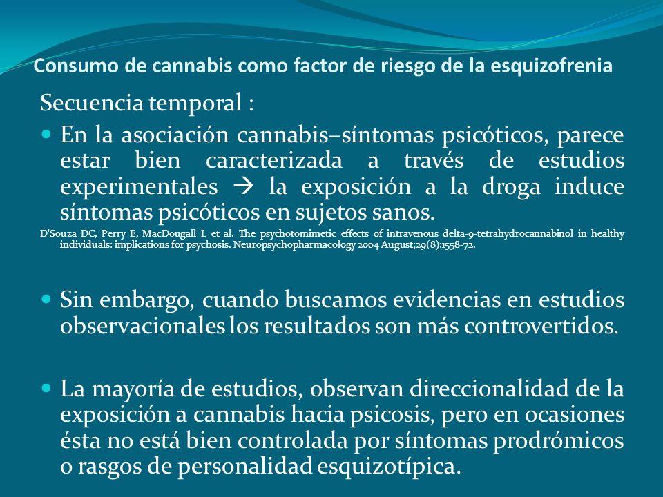 Consumo de cannabis como factor de riesgo de la esquizofrenia Secuencia temporal : En la asociación cannabis–síntomas psicóticos, parece estar bien ca