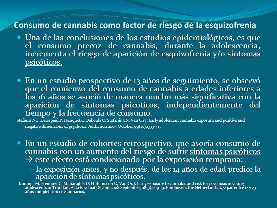 Consumo de cannabis como factor de riesgo de la esquizofrenia Una de las conclusiones de los estudios epidemiológicos, es que el consumo precoz de can