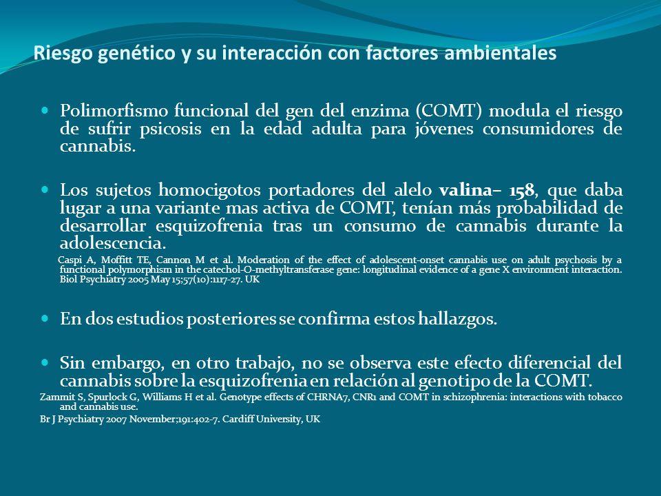 Riesgo genético y su interacción con factores ambientales Polimorfismo funcional del gen del enzima (COMT) modula el riesgo de sufrir psicosis en la e
