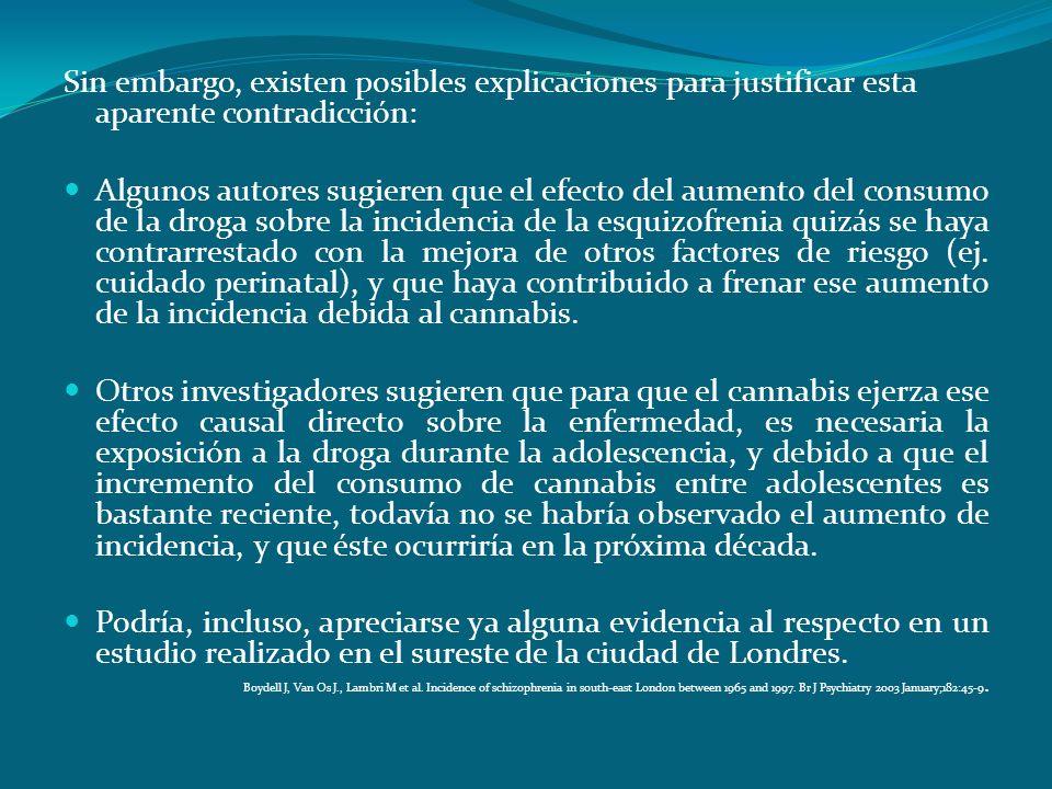 ¿Es posible la Teoría Etiológica del consumo de cannabis como factor de riesgo para la esquizofrenia? Sin embargo, existen posibles explicaciones para