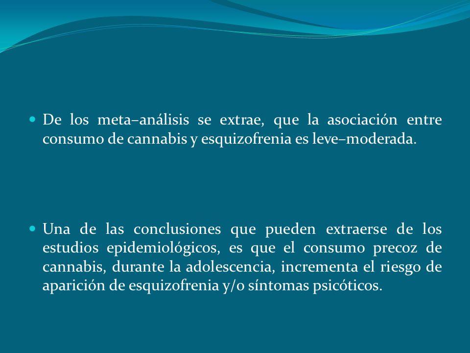 Conclusiones De los meta–análisis se extrae, que la asociación entre consumo de cannabis y esquizofrenia es leve–moderada. Una de las conclusiones que