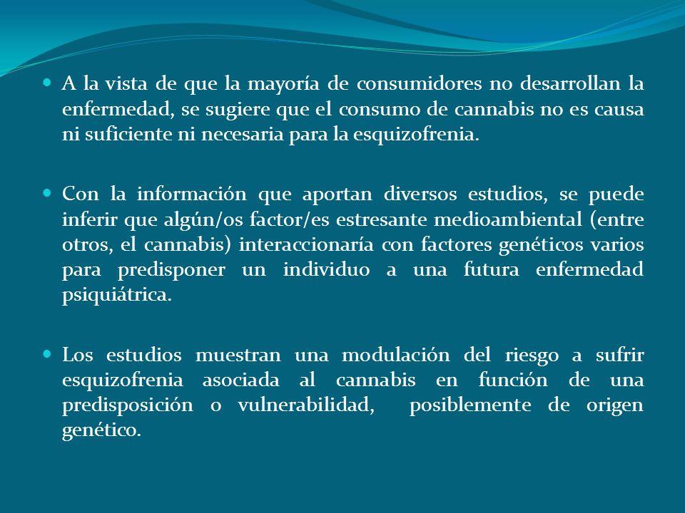 Conclusiones A la vista de que la mayoría de consumidores no desarrollan la enfermedad, se sugiere que el consumo de cannabis no es causa ni suficient