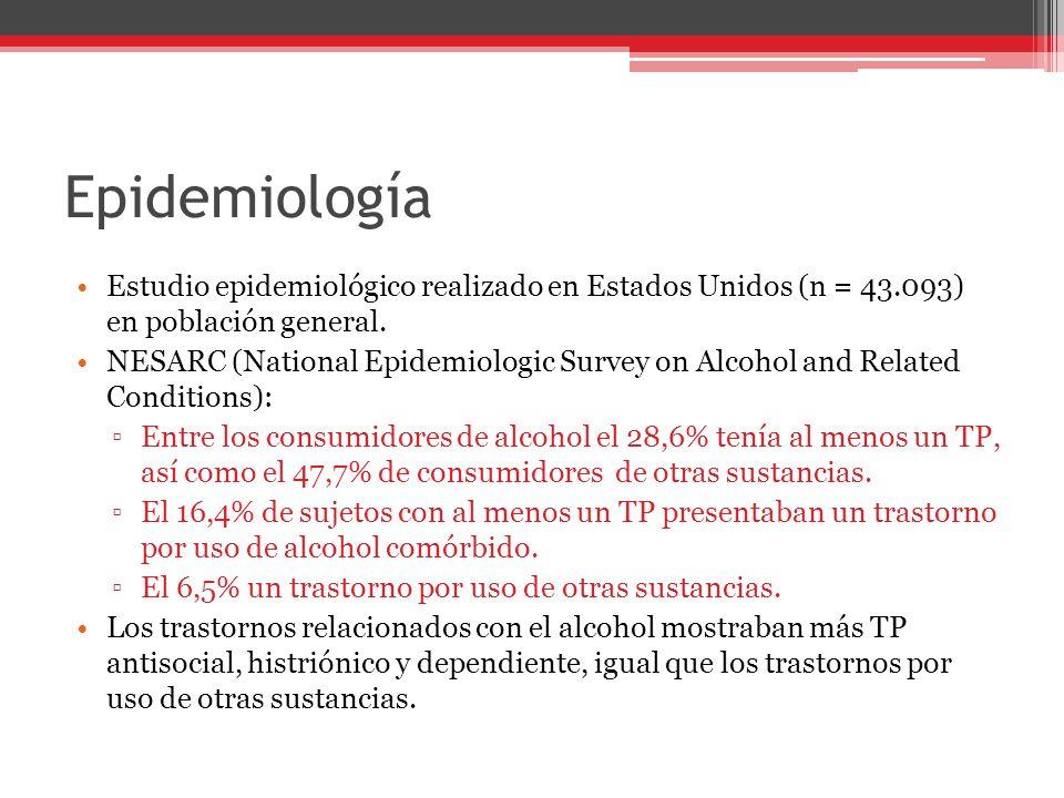 Epidemiología Estudio epidemiológico realizado en Estados Unidos (n = 43.093) en población general.