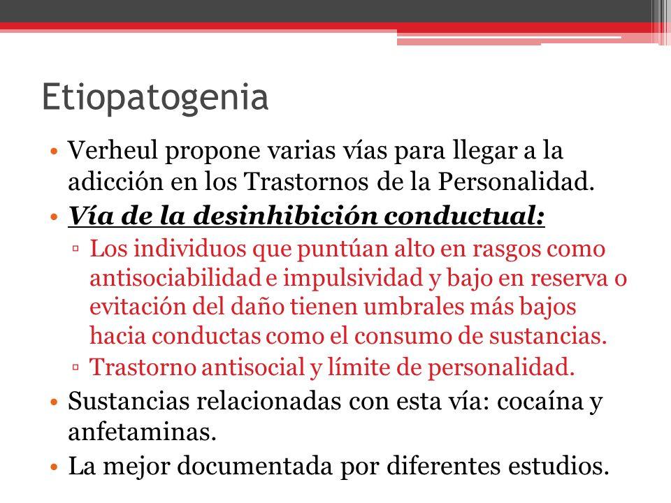 Etiopatogenia Verheul propone varias vías para llegar a la adicción en los Trastornos de la Personalidad.