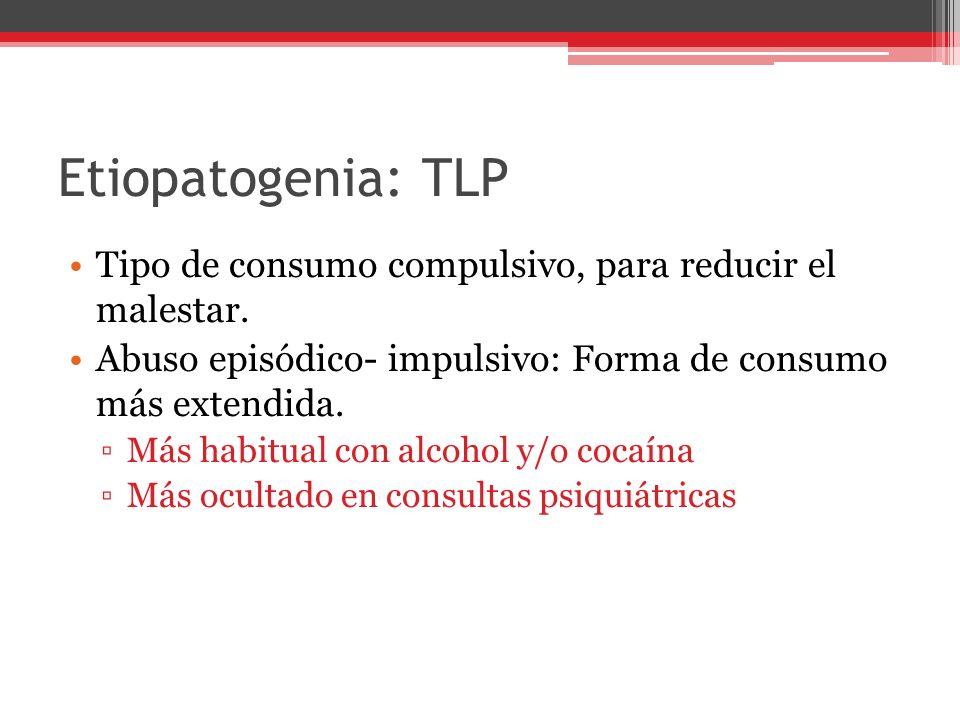 Etiopatogenia: TLP Tipo de consumo compulsivo, para reducir el malestar.