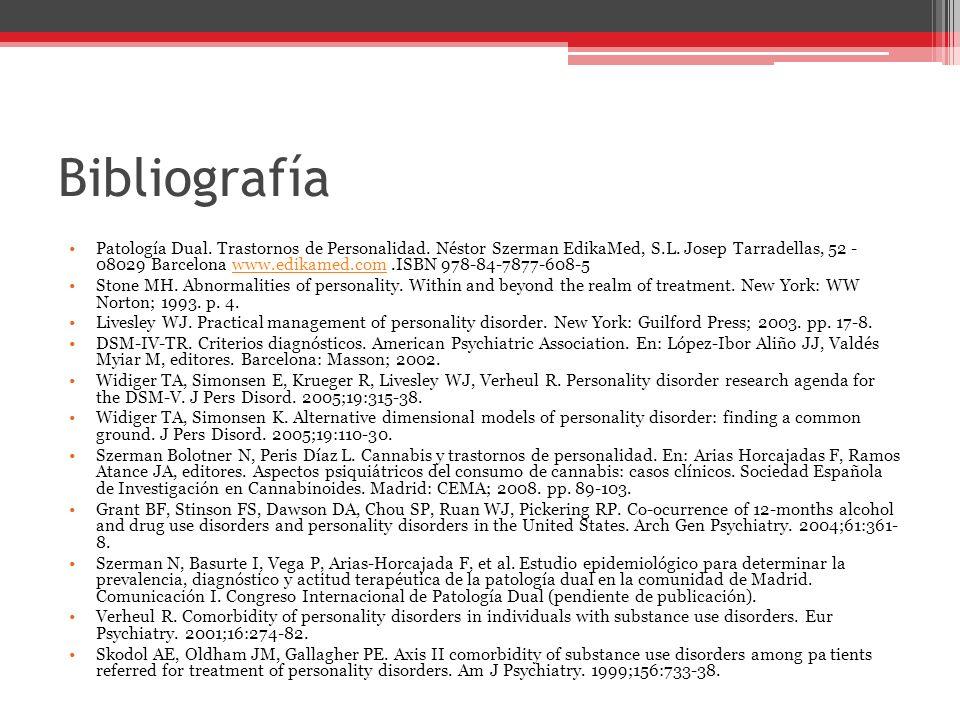 Bibliografía Patología Dual.Trastornos de Personalidad.