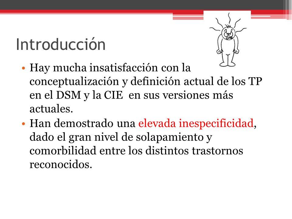 Introducción Hay mucha insatisfacción con la conceptualización y definición actual de los TP en el DSM y la CIE en sus versiones más actuales.