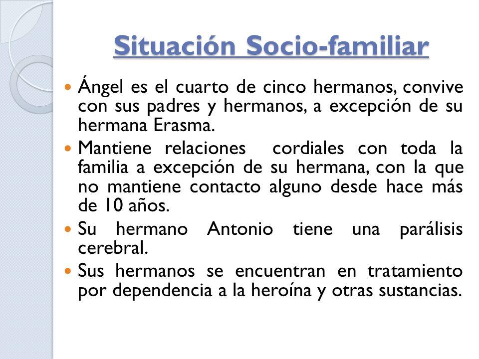 Situación Socio-familiar Ángel es el cuarto de cinco hermanos, convive con sus padres y hermanos, a excepción de su hermana Erasma. Mantiene relacione