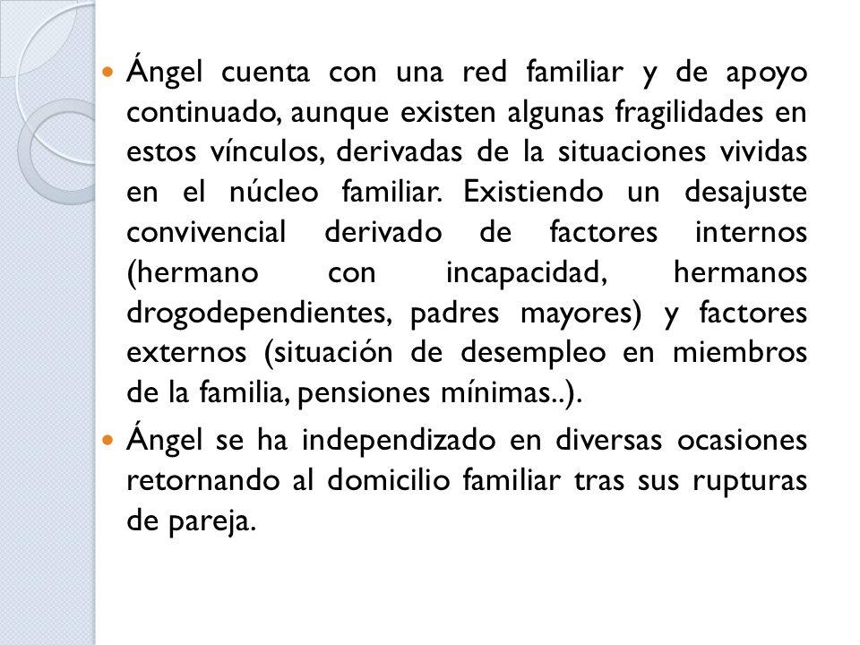 Ángel cuenta con una red familiar y de apoyo continuado, aunque existen algunas fragilidades en estos vínculos, derivadas de la situaciones vividas en