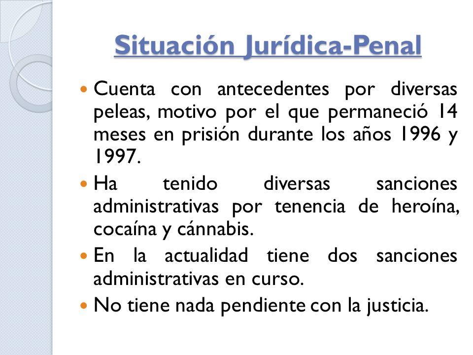 Situación Jurídica-Penal Cuenta con antecedentes por diversas peleas, motivo por el que permaneció 14 meses en prisión durante los años 1996 y 1997. H