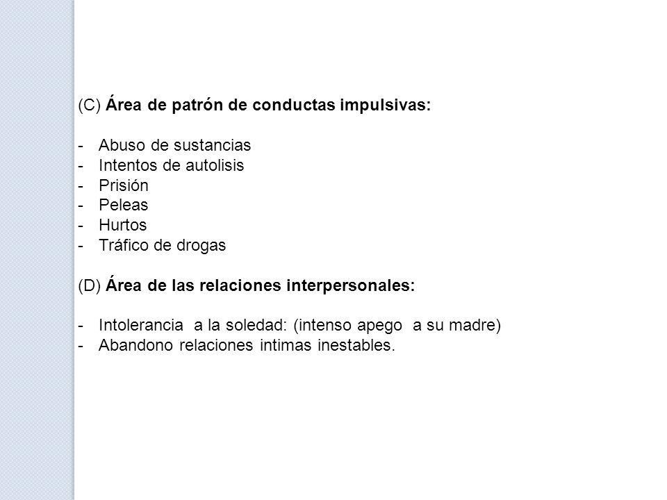 (C) Área de patrón de conductas impulsivas: -Abuso de sustancias -Intentos de autolisis -Prisión -Peleas -Hurtos -Tráfico de drogas (D) Área de las re