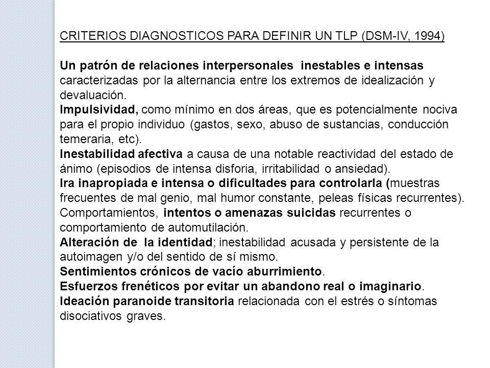 CRITERIOS DIAGNOSTICOS PARA DEFINIR UN TLP (DSM-IV, 1994) Un patrón de relaciones interpersonales inestables e intensas caracterizadas por la alternan