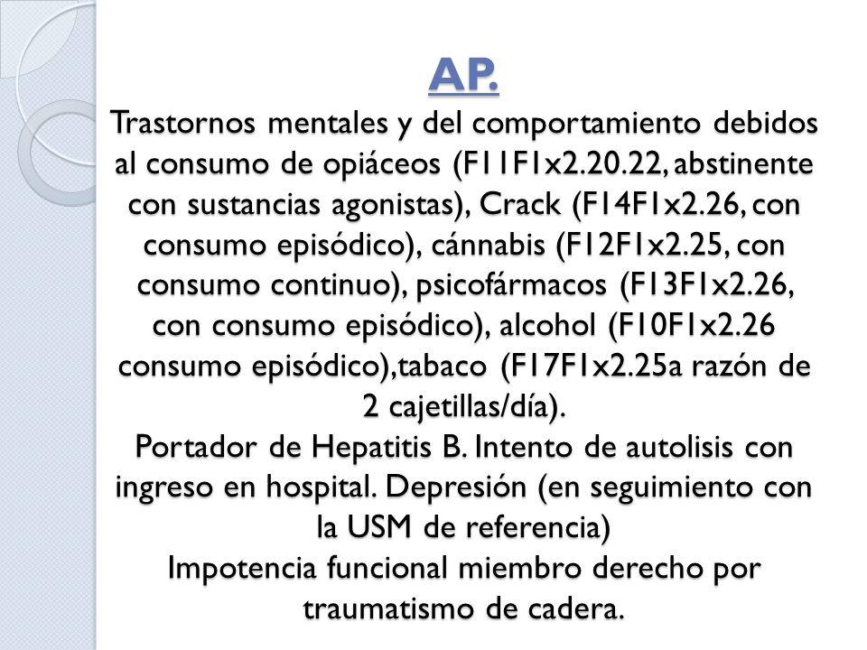 AP. Trastornos mentales y del comportamiento debidos al consumo de opiáceos (F11F1x2.20.22, abstinente con sustancias agonistas), Crack (F14F1x2.26, c
