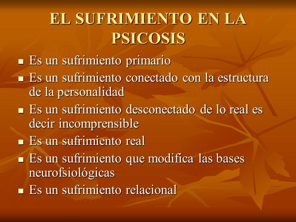 EL SUFRIMIENTO EN LA PSICOSIS Es un sufrimiento primario Es un sufrimiento conectado con la estructura de la personalidad Es un sufrimiento desconecta