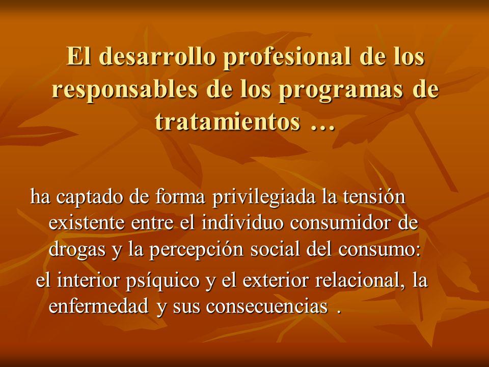 El desarrollo profesional de los responsables de los programas de tratamientos … ha captado de forma privilegiada la tensión existente entre el indivi